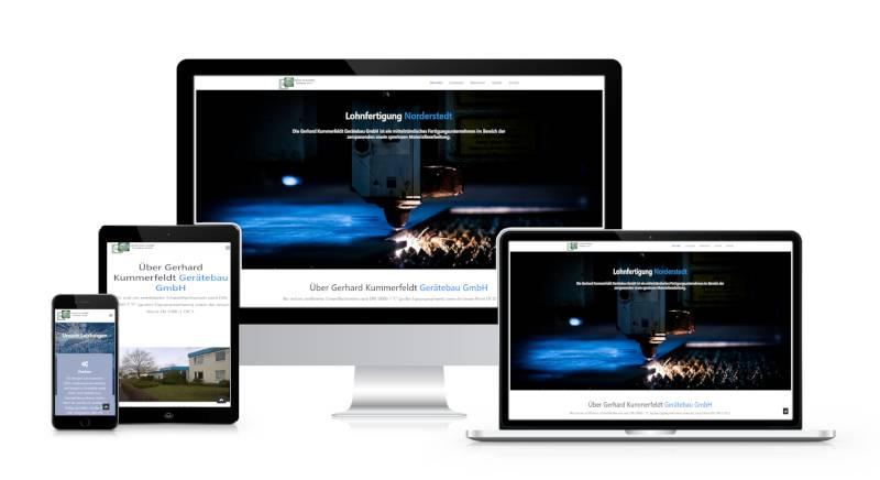 Bild zeigt Webseite der Gerätebau GmbH