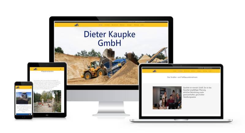 Bild zeigt Webseite der Firma Kaupke.